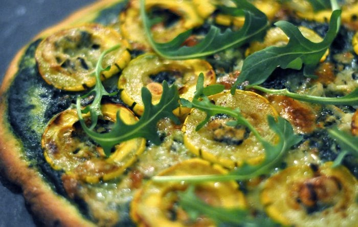 Alternative pizza made with easy to digest spelt and kamut