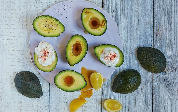 Avocados on a plate