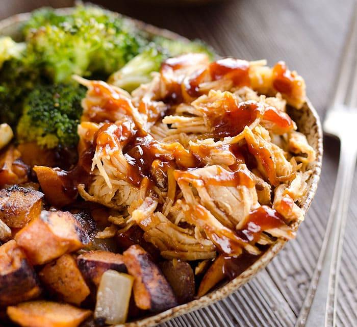 Roasted chicken sweet potato bowls