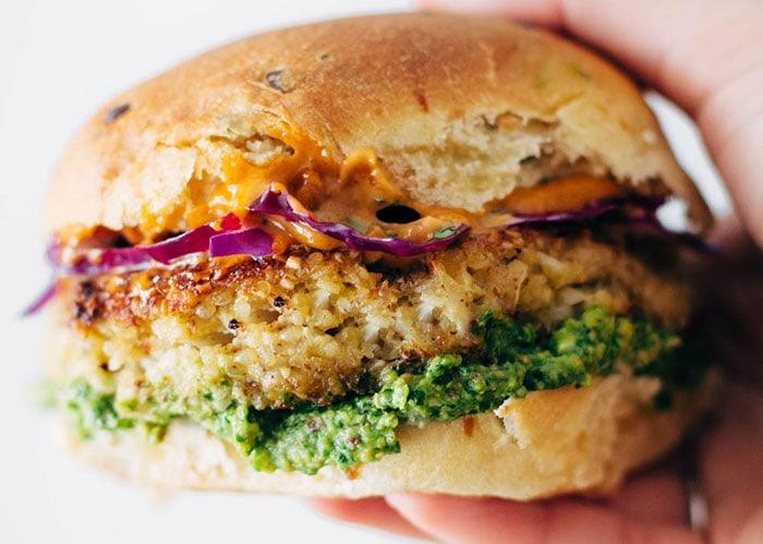 Spicy cauliflower burger