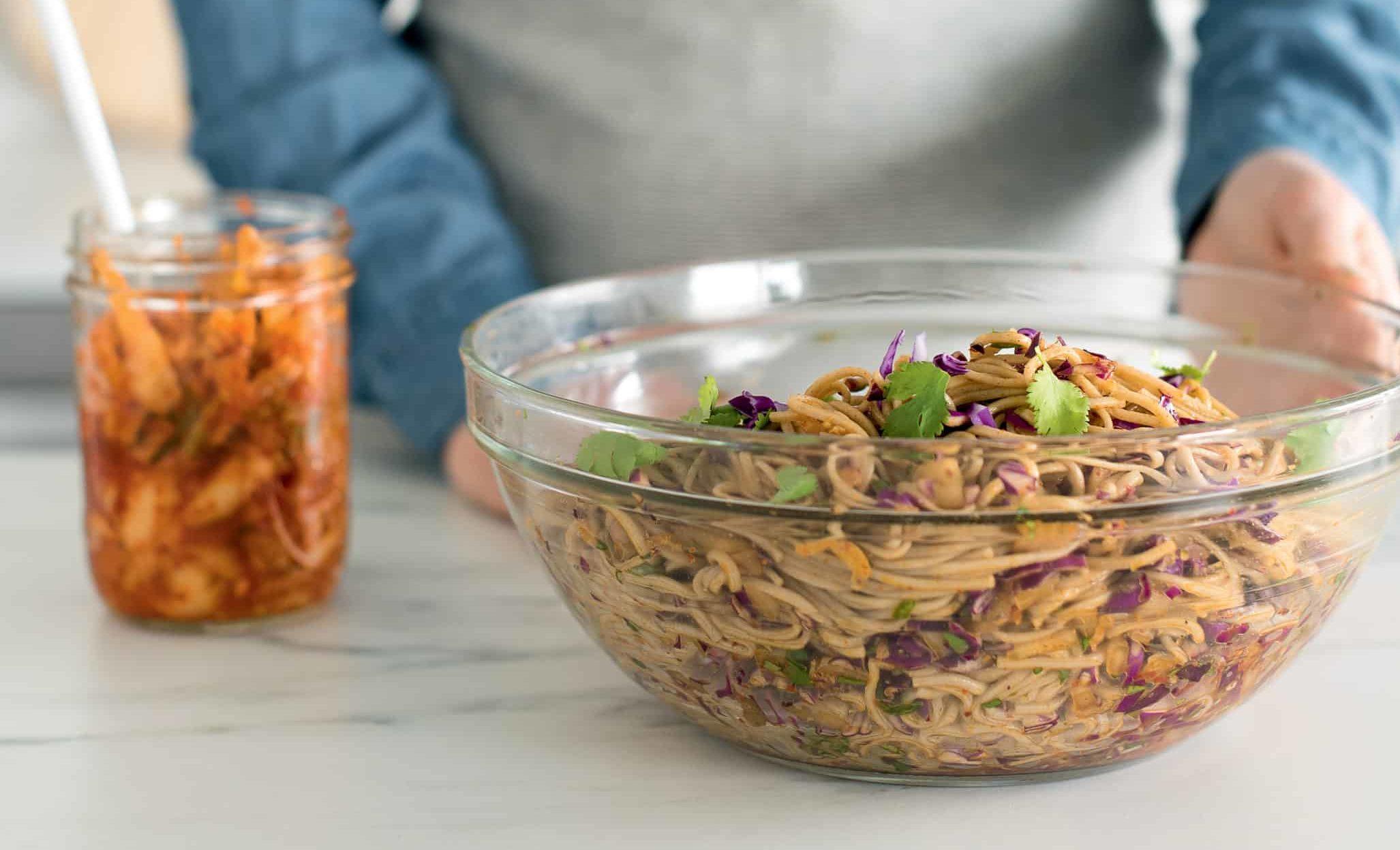 Cold Kimchi Soba Noodles