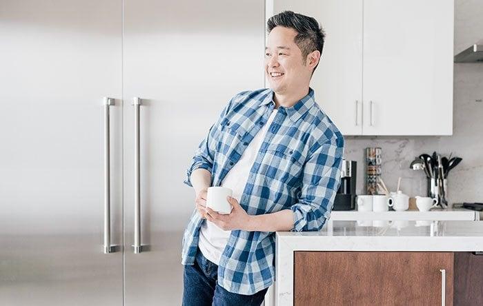 Danny Seo in his kitchen