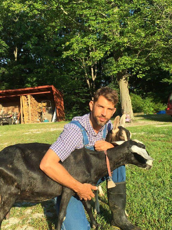 Drew Ramsey on a farm