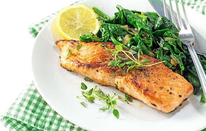 Maximizing nutrition - salmon and spinach