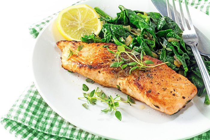 Spinach and salmon
