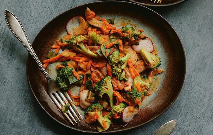 Ginger almond broccoli salad