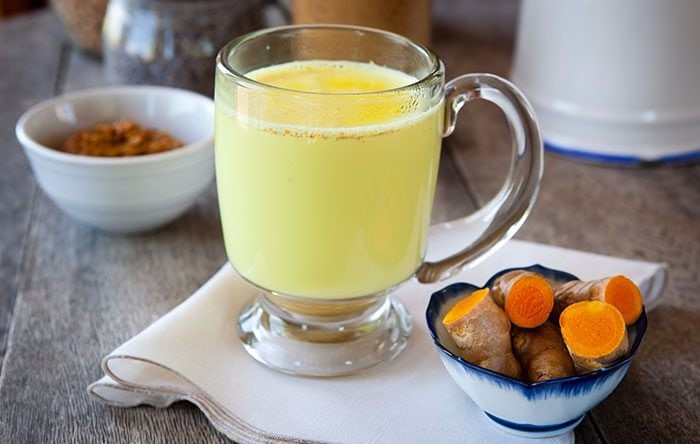 Golden milk in a glass
