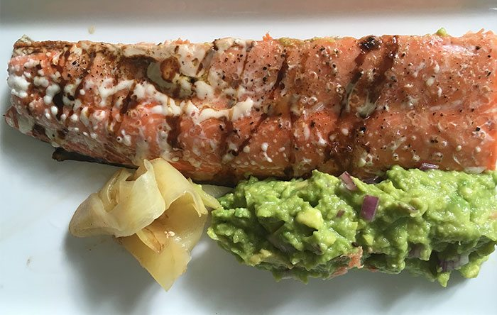 Grilled salmon avocado pickled ginger recipe