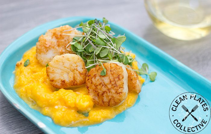 Seafood meal of scallops