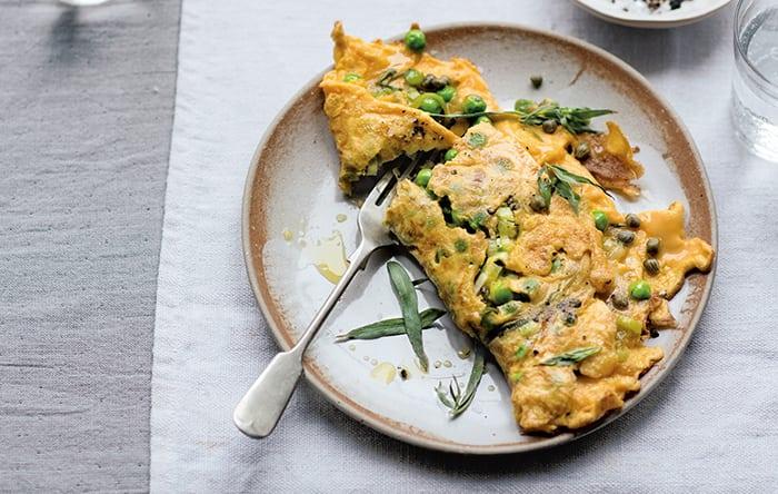 Pea leek omelette
