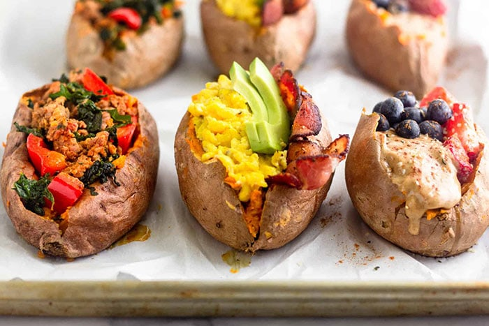 Breakfast-stuffed sweet potatoes