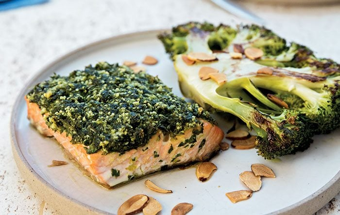 One Pan Roasted Salmon And Broccoli Steak Clean Plates