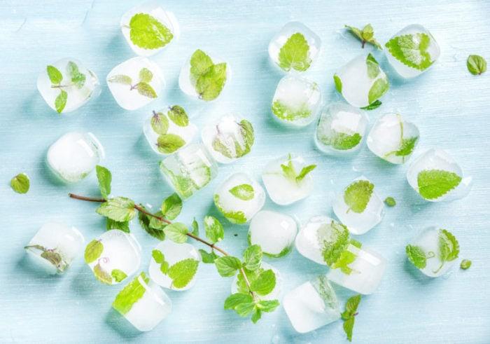 Frozen mint leaves