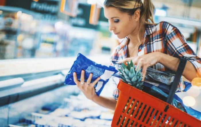Woman buying frozen foods