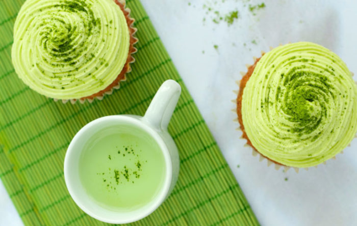 Matcha cupcakes with Matcha latte