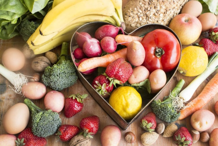 Various Healthy Food with Heart Tray