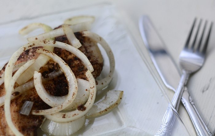 Moroccan-Marinated Chicken Breasts with Wilted Onions