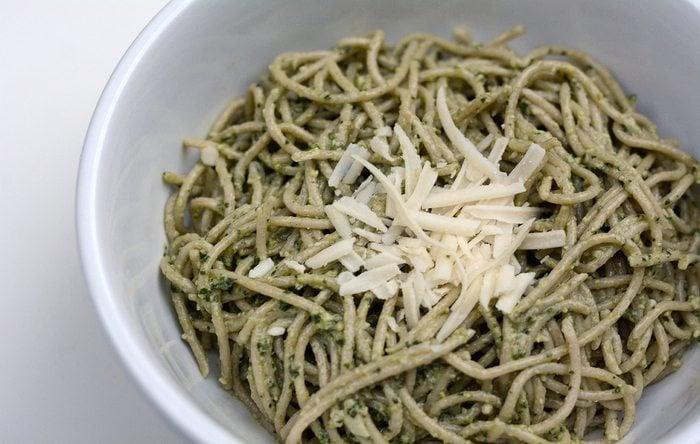 Swiss chard rosemary pesto pasta